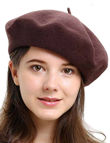 HH HOFNEN Children's & Women's 100% Wool French Beret Hat (Brown) (Hat French Small Brown)