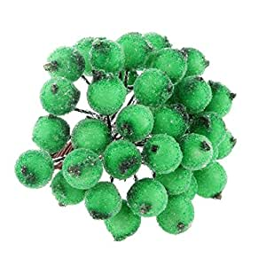 Pack of 200pcs Mini Frosted Fruit Berry Artificial Christmas Tree Decor 13cm - Green, 13cm