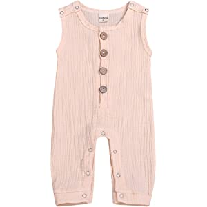 b40d53dd491ec Mini honey Infant Toddler Baby Girls Boys Navy/Brown Button up Sleeveless Romper  Jumpsuit Shorts