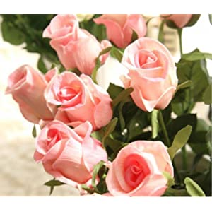 FYYDNZA Nienie Artificial Flowers Diy Wedding Decoration 9Pcs/Lot Real Touch Rose Flowers Bouquets Bridal Decor For Home Artificial Flowers,Rosado 100