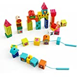 Top Bright Wooden Building Blocks Set-38 Pieces Beads Stacking &Lacing Games for Toddlers Preschool Age