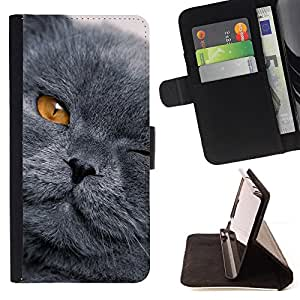 DEVIL CASE - FOR HTC Desire 820 - Grey Shorthair Cat Scottish Fold Yellow Eye - Style PU Leather Case Wallet Flip Stand Flap Closure Cover