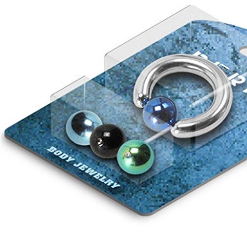 Pack Piercing anneau captif avec 4 Interchangable en titane sur acier chirurgical 316L Taille:
