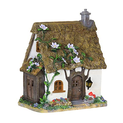 Exhart Solar Flower Vines Fairy House Garden Statue - Mini Flower Vines Fairy Cottage Resin Statue w/Solar Accent Lighting - Hand-Painted Flower Vines Resin Fairy Hut for a Fantasy Garden, 12