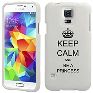 Samsung Galaxy S5 Active G870 Snap On 2 Piece Rubber Hard Case Cover Keep Calm and Be A Princess (White)