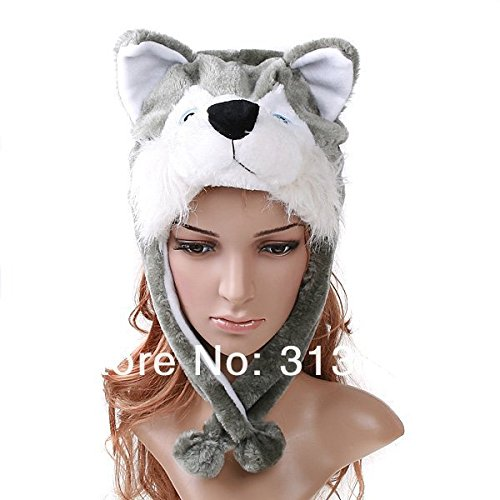 Jack Daniels Dog Costume (Cute Funny Plush Faux Fur Animal Stuffed Beanie Hood Hat Winter Adult Womens Mens Children Kids Boys Girls Warm Cosplay Costume (Wolf))
