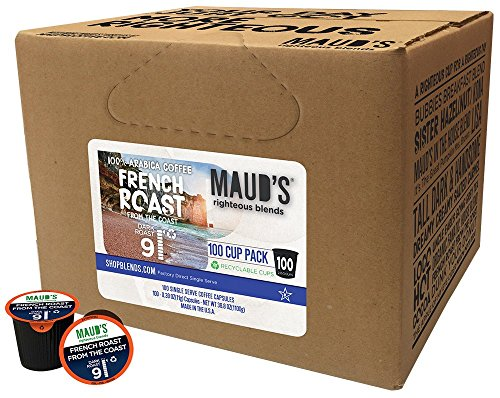 Maud's Gourmet Coffee Pods - French Roast from the Coast, 100-Count Single Serve Coffee Pods - Richly Satisfying Premium Arabica Beans, California-Roasted - Kcup Compatible, Including 2.0