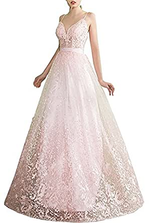 Hatail V-neck Lace Prom Wedding Dress Spaghetti Strap Applique Evening Gown Long