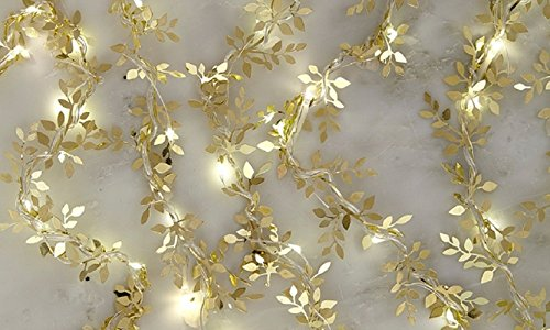10' College Snowflake - Apothecary & Company 10 Ft String, 20 Count LED Indoor/Outdoor Lighted Fairy Mini Copper Gold Metal Leaves Ornament Battery Operated Lights with Built in 4-Hour Timer