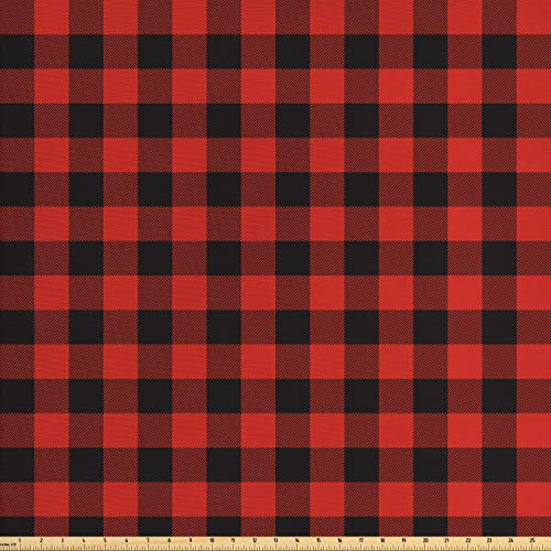 - Ambesonne Plaid Fabric by The Yard, Lumberjack Fashion Buffalo Style Checks Pattern Retro Style with Grid Composition, Decorative Fabric for Upholstery and Home Accents, Orange Black