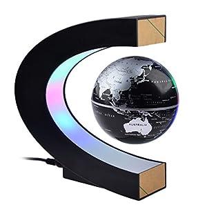Yamix Magnetic Levitating Globe- Built-in LED Light Illuminates for Night View, 8.5CM Diameter, C Shape Floating Globe…