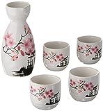 Japanese Sake Set, 5 Pieces Sake Set Hand Painted Design Porcelain Pottery Traditional Ceramic Cups Crafts Wine Glasses (Pink)