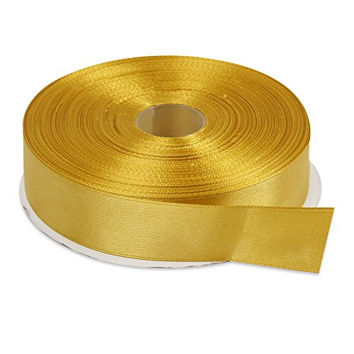 Gold Polyester Ribbon (Topenca Supplies 1 Inches x 50 Yards Double Face Solid Satin Ribbon Roll, Gold)