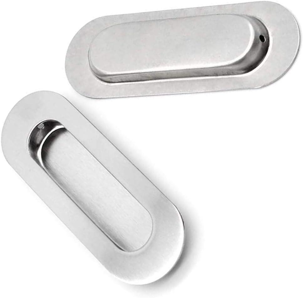 104 mm con Vite 2 Pezzi Argento Guardaroba Maniglia Scorrevole Incorporata Maniglia per Porta Scorrevole in acciaio inox Spazzolato Maniglia Ovale a Incasso per Porta Scorrevole per Cassetti