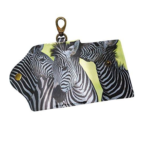 JSTLE Zebra Africa Key Organizer Case Wallets Unisex Keychain Key Holder Ring with 6 Hooks by JSTEL