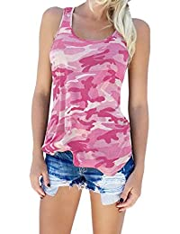Women's Sleeveless Camouflage Print T-Shirt Racerback Crewneck Blouse Tank Tops