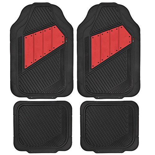 Motor Trend FlexTough 2 Tone Rubber Car Floor Mats for Auto - Heavy Duty All Season Black & Red (Two Tone Car)