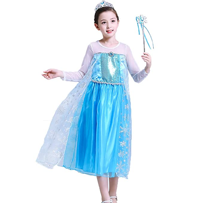 026ec91f11136 Kids Girls Fancy Dress Princess Elsa Anna Cinderella Belle School Cosplay  Costume Set Sofia Rapunzel Tulle Dress Snow Queen Party Outfit Deluxe  Carnival ...