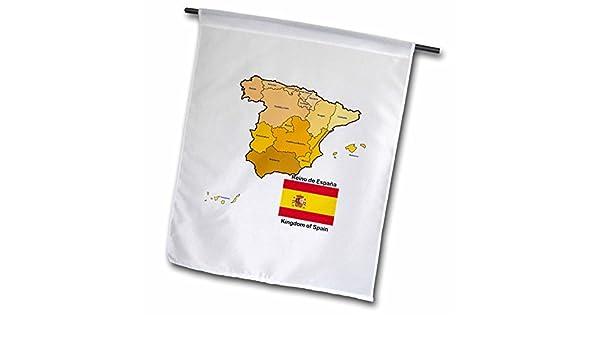3dRose FL 110022 _ 1 Bandera y Mapa de España con Todas Las comunidades autónomas identificados y Nombre Bandera de Jardín, 12 por 45, 72 cm: Amazon.es: Jardín