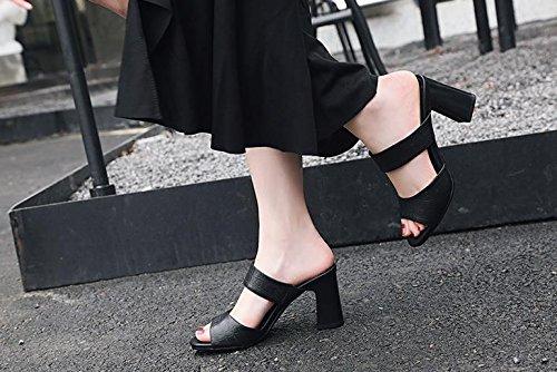 nero Alla 36 rotonda tacco tacchi Scarpe Sandali Donna 8cm parola Moda 37 pantofole alti AJUNR Da testa wR14qv