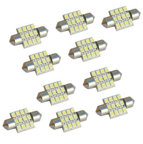 MicTuning MIC-FS3112 31mm-12SMD 3528 LED White Festoon Interior Car Lamp Bulbs, 10pcs by MICTUNING