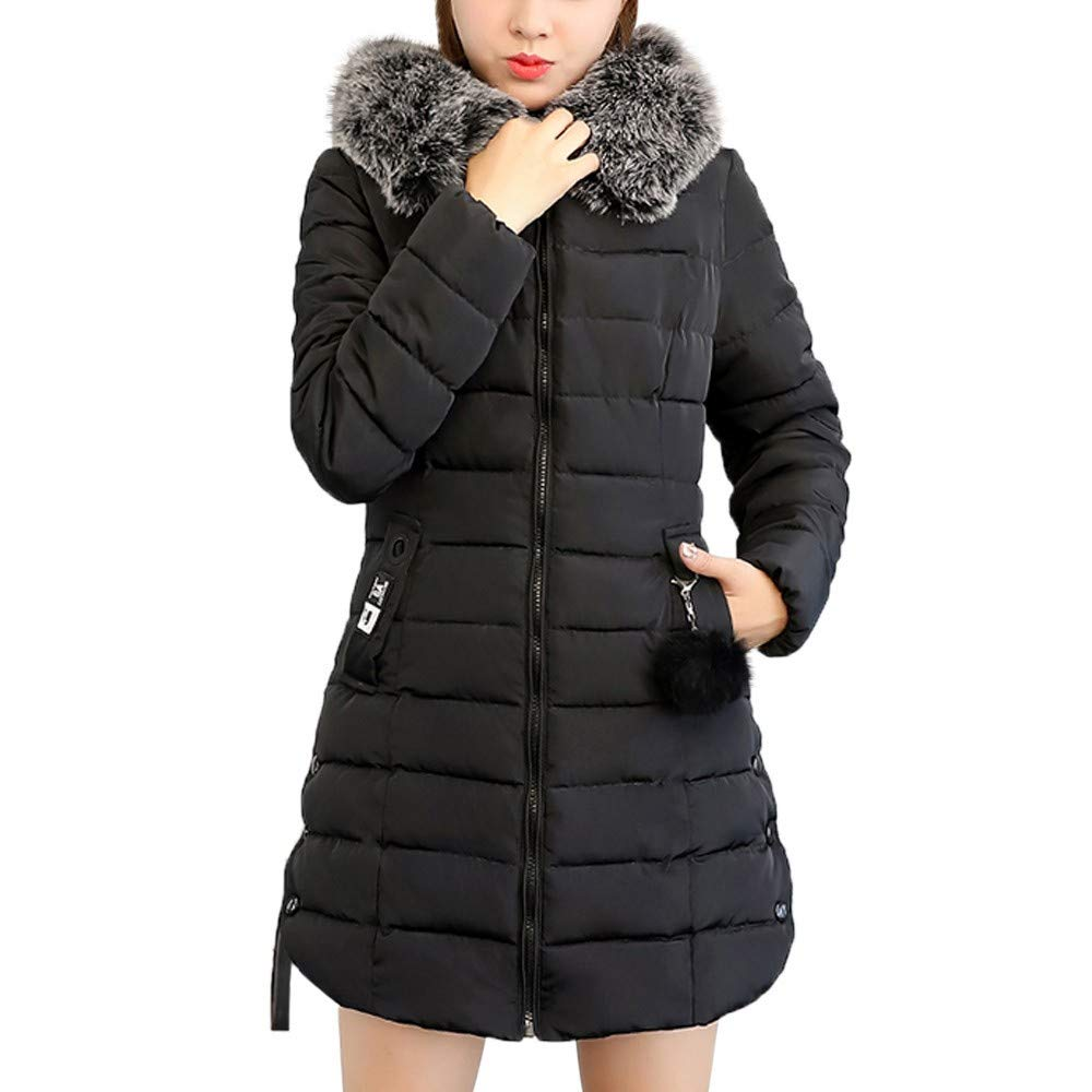 CHIDY Womens WinterFaux Fur Hooded OutwearSolid Warm Coat Zip Up Parka Slim Jacket with Pockets(Large,Black) by CHIDY