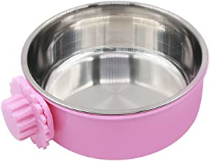 Daycount Pet Feeder Dog Bowl Stainless Steel Food Hanging Bowl Crates Cages Dog Parrot Bird Pet Drink Water Bowl Dish Accessory (L: 6''x2.2'', Pink)