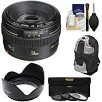 Canon EF 50mm f/1.4 USM Lens with Backpack Case + 3 UV/CPL/ND8 Filters + Lens Hood + Cleaning Kit for EOS 60D, 7D, 5D Mark II III, Rebel T3, T3i, T4i Digital SLR Cameras