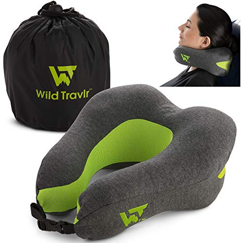 Neck Pillow for Airplane Travel - Ultra Soft Memory Foam Support Neck Pillows with Carrying Case and Removable Neck Pillow Cover | Neck Pillow for Sleeping, Traveling, Camping, Airplanes, Cars