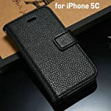 Luxury Flip Leather Wallet Stand Case For Iphone 5C Phone Bag Cover For Iphone5C With Card Holder Style Black-Black