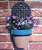 """ABC Products"" - Heavy Cast Iron - Wall Mounting Plate - With Heavy Wire Ring - For Holding Flower Pots - Ring Is Removable - (Flat Black Rustic Color - Colonial Design - Flower Pot Not Included)"