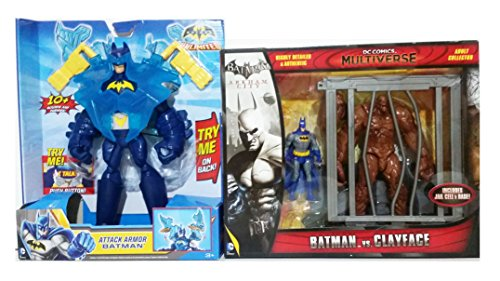Batman 10-Inch Lights & Sounds Batman Figure & DC Comics Multiverse 4-Inch Classic Comic Skin Batman and Clayface Figure 2-Pack . Bundle of 2!