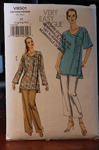 Vogue Sewing Pattern V8501 8501 Misses Size 16-26 Easy Button Front Tunic Top Long Cropped Pants