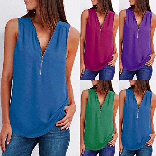 Femme Manches Beikoard en Femme Vetement T pour Bleu Vrac en col Chemise Blouse Haut Shirt Glissire Dcontracte Sexy V sans Top t Chemise 00Fv4rq