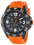 Tommy Hilfiger Men's 1790985 Cool Sport Black Ion-Plated Case Orange Silicone Strap Watch, Watch Central