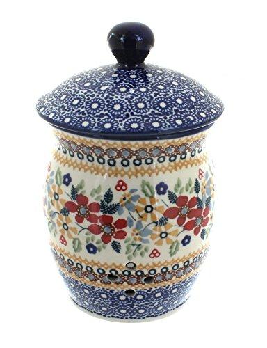 Polish Pottery Red Daisy Garlic Keeper