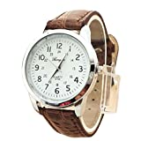 Laimeng, Elegant Analog Luxury Sports Leather Strap Quartz Mens Wrist Watch (Brown)