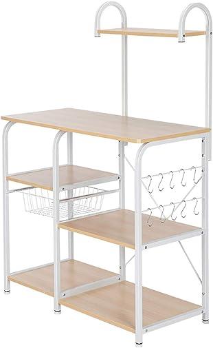 Home Furnishing Plaza Light Beige Kitchen Baker's Rack Utility Storage Shelf 35.5″ Microwave Stand 4-Tier 3-Tier Shelf