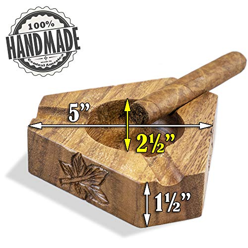 Wooden Cigar Ashtrays– The Mayan Line- 4 Styles to Choose from- Handmade Carved Wood Design Made in Central America by Local Artisan Craftsman- Great Cigar Accessories Gift for Men- Three Slot by Briar and Oak (Image #2)
