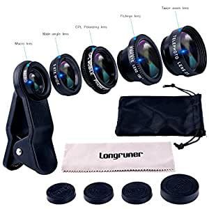 Longruner 5 in 1 Clip-on Cell Phone Camera Lens Kit,15x Macro Lens+0.67x Super Wide Angle Lens+180°Fish-eye Lens +CPL PhoneLens +2.0xTelephoto for iPhone 7/6s/6s Plus/5S Samsung Galaxy etc.