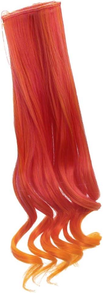 Arancia P Prettyia Parrucca da Ragazza di 25 Cm alla Moda con Parrucca Riccia Lunga Fai da Te Accessorio