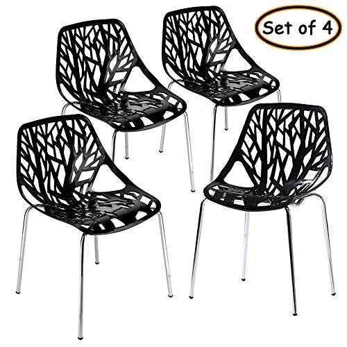Bonnlo Modern Stackable Chair Set of 4 Kitchen Black Dining Chair Birch Sapling Comfy Chairs for Indoor&Outdoor Use (Black)