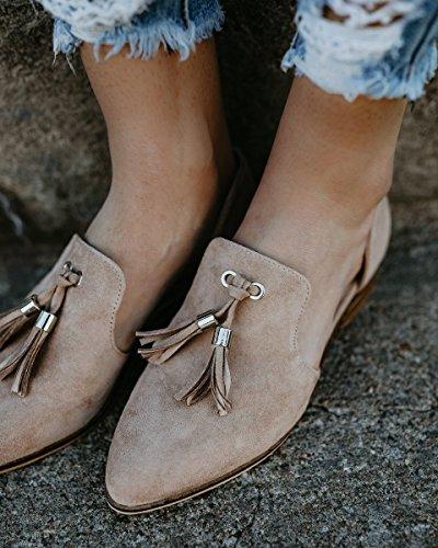 HotiQues Frauen Spitz Ausschnitt Slip On Tassel Loafers Flache Schuhe Taupe