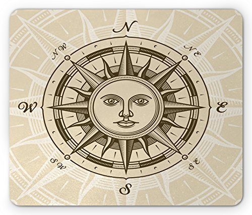 Compass Mouse Pad by Lunarable, Vintage Compass Rose with Sun Shape Human Face Historical Design Illustration, Standard Size Rectangle Non-Slip Rubber Mousepad, Beige - Face Illustration Shape
