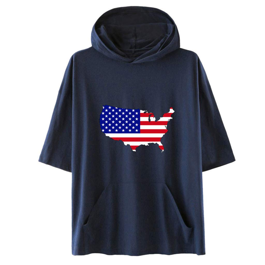 Smdoxi Neutral American Independence Day Hooded Short Sleeve Flag Print Simple Casual T-Shirt Navy