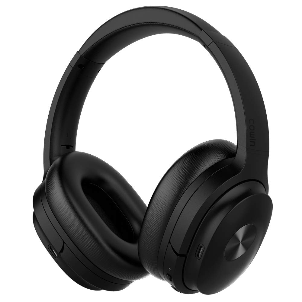 COWIN SE7 Active Noise Cancelling Headphones Bluetooth Headphones Wireless Headphones Over Ear with Microphone Aptx, Comfortable Protein Earpads, 50 Hours Playtime for Travel Work, Black