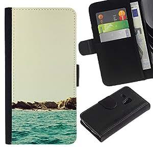 YiPhone /// Tirón de la caja Cartera de cuero con ranuras para tarjetas - Hermoso Paisaje minimalista Beach - Samsung Galaxy S3 MINI 8190