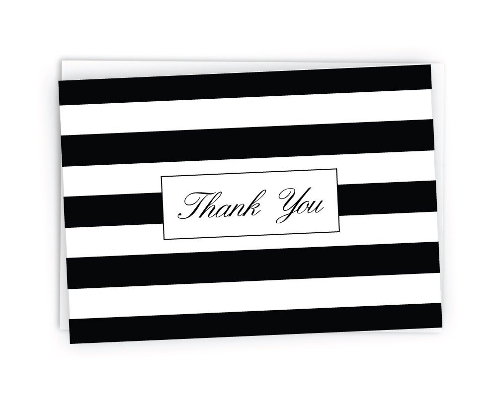 Striped Thank You Cards - 48 Cards & Envelopes (Black)