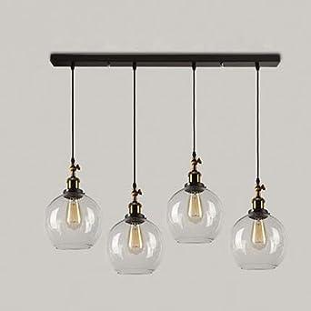 Baycheer Lampe Suspensions Lustre Abat Jour En Métal Style Ampoule