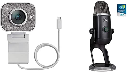 Logitech StreamCam, 1080P HD 60fps Streaming Webcam with USB-C and Built-in Microphone, White with Blue Yeti X Professional Condenser USB Microphone